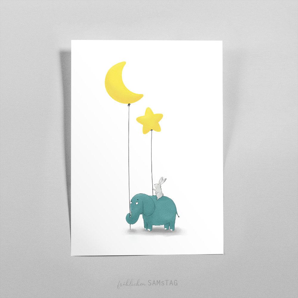 hase und elefant mit luftballons  fröhlichen sam'stag shop