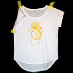 Lama (GOLD) Damen T-Shirt Weiß